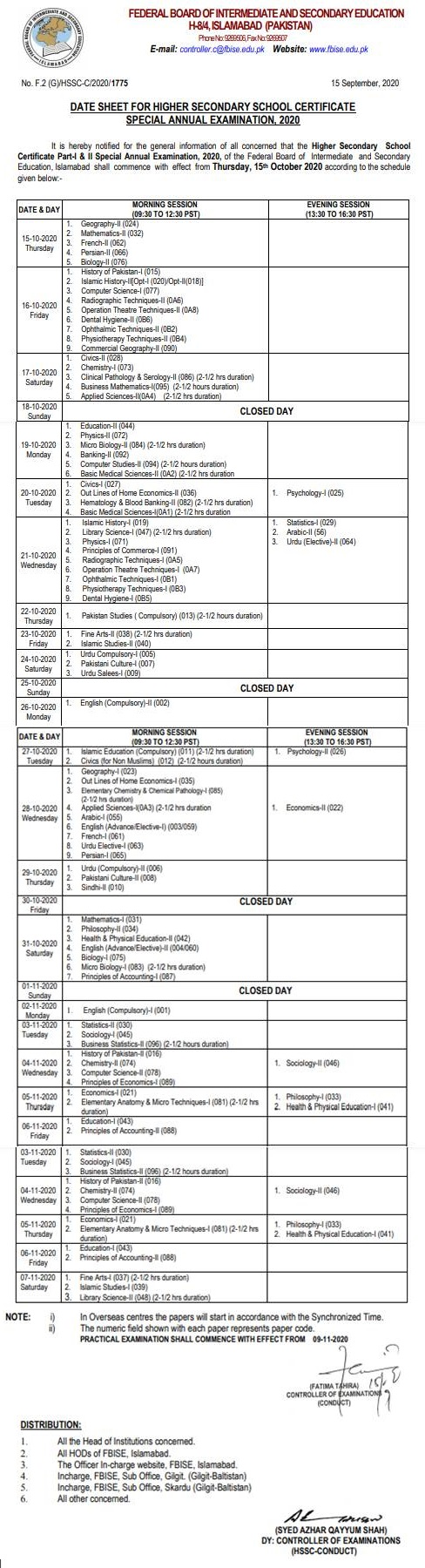 Federal Board Matric (9th 10th) Date Sheet 2021 FBISE Dates and Timings of Annual Papers