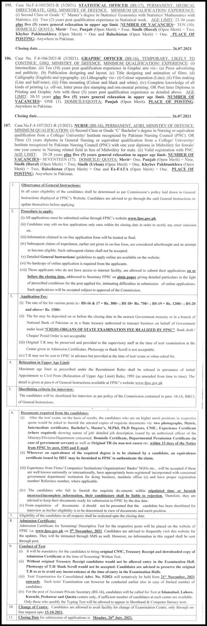 GHQ Ministry of Defence FPSC Jobs 2021 Online Registration Schedule and Dates