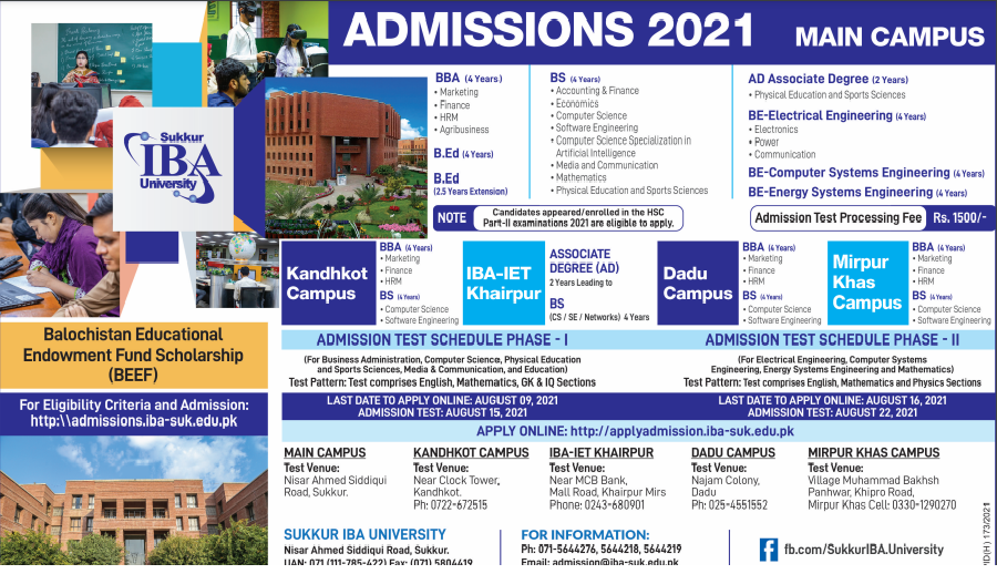 IBA Sukkur Admission 2021 Form Online Apply Entry Test Date Schedule for BS, BBA, MBA, B.Ed