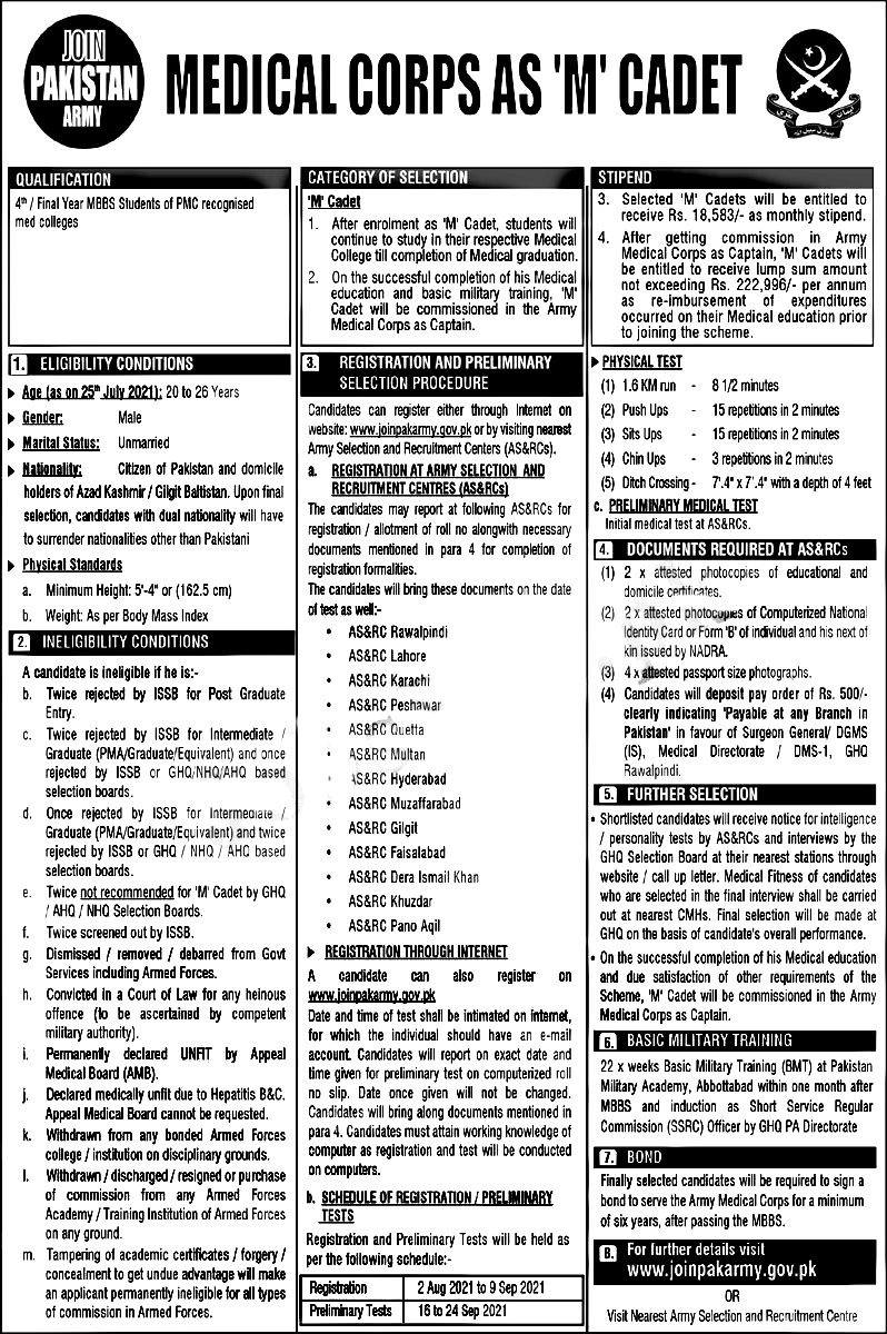 Join Pakistan Army as Medical Cadet 2021 Apply Online