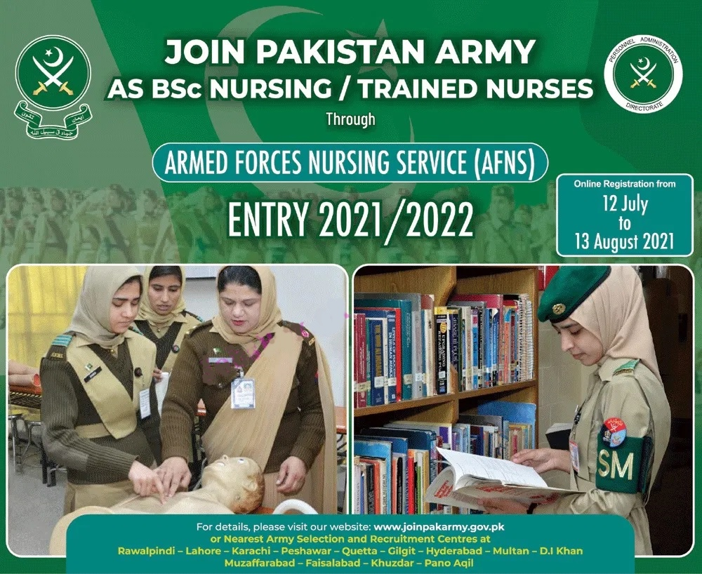 Join Pak Army as a Female Nursing Service AFNS Jobs 2021 Eligibility Online Apply