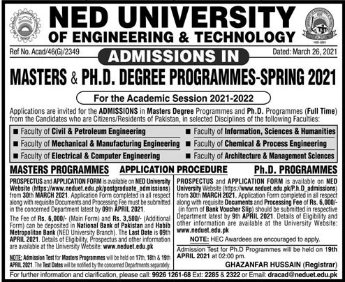 NED University Admission 2021 Prospectus Form Online Test Date Schedule Eligibility