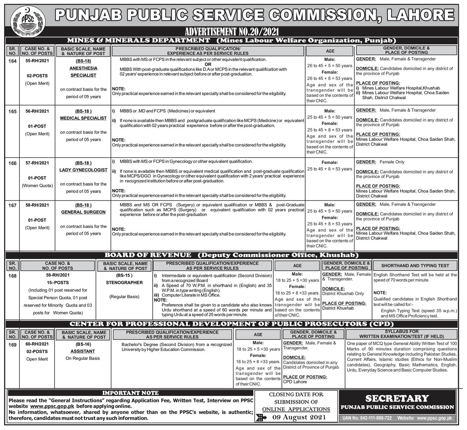 PPSC Latest Jobs Ads 2021 Online Application Form Download Test Dates Schedule