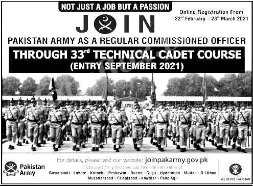 Pakistan Army 33rd Technical Cadet Course Online registration