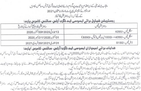 Punjab University PU BA/BSc Annual Exam 2021 Registration Online for Private Students