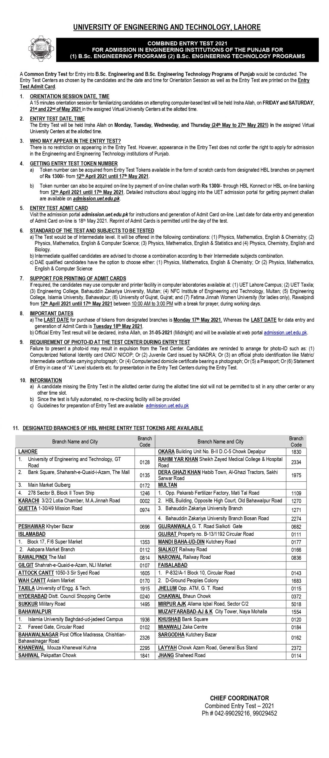 UET Entry Test 2021 Registration forms Online Submission and Required Documents
