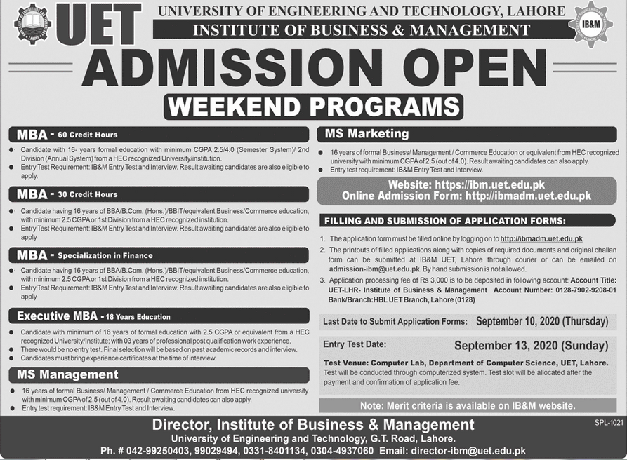 UET IB&M Lahore Admission 2021 in BBA & MBA Schedule/Dates Application Form