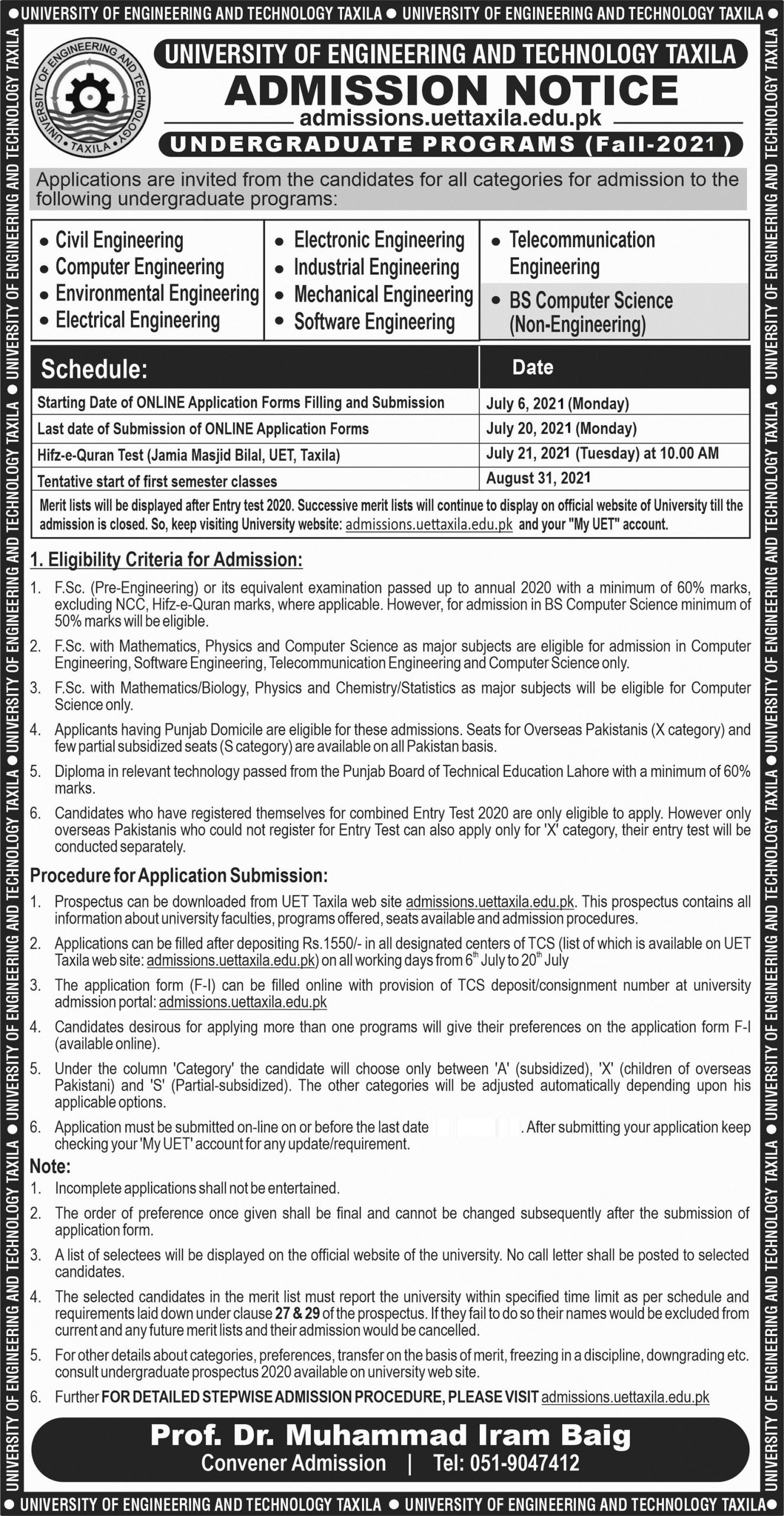 UET Taxila Admission 2021 Complete process Eligibility Requirements