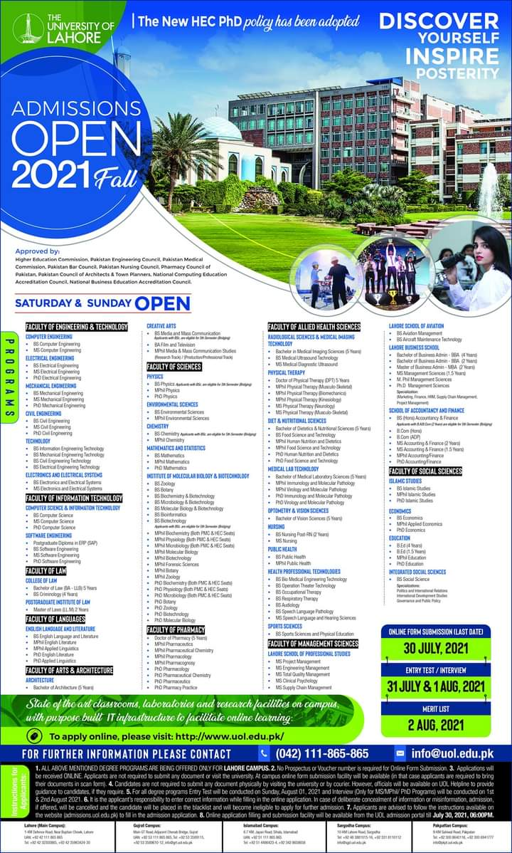 University of Lahore UOL Admissions 2021 Apply Online