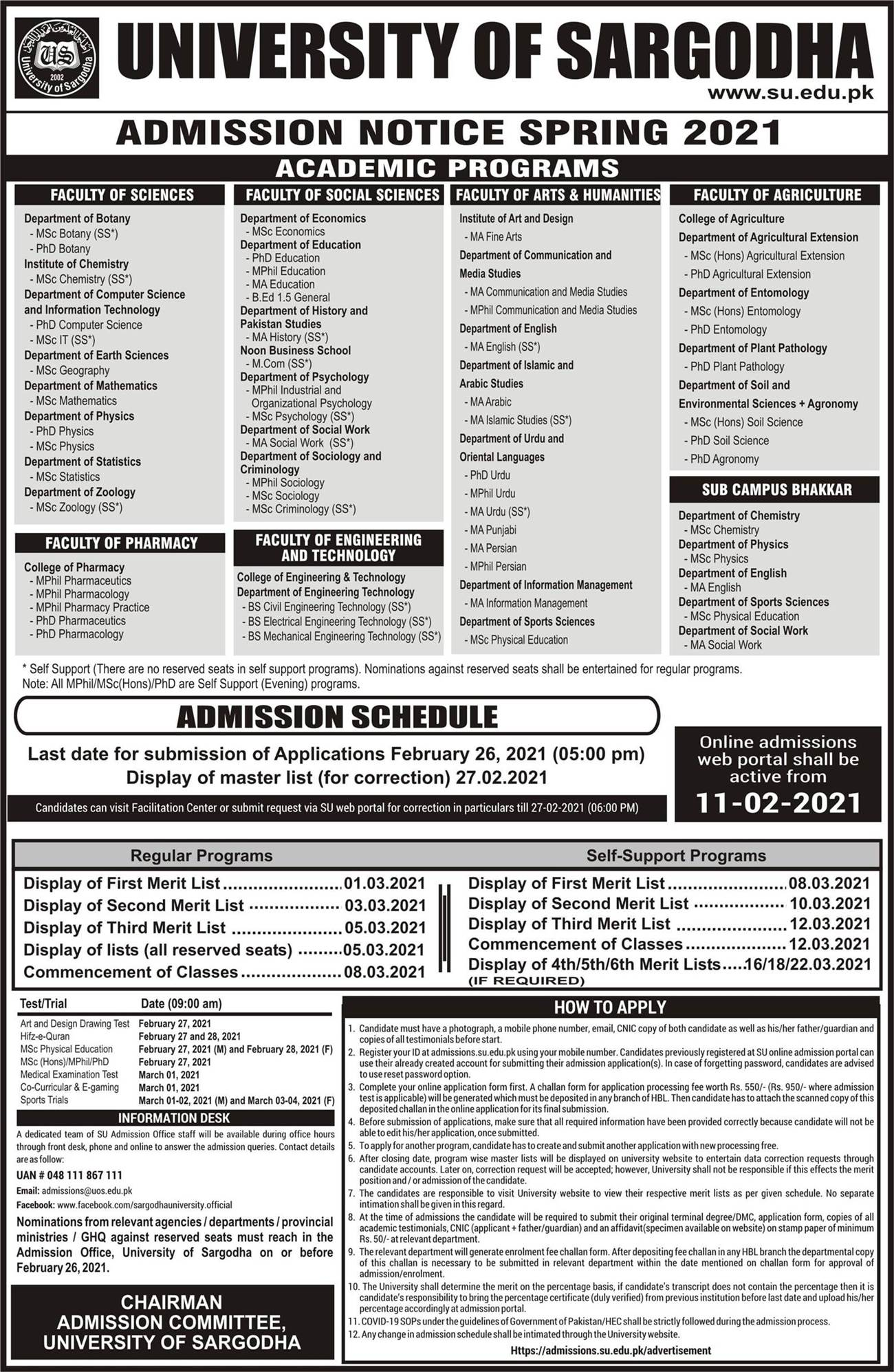 University of Sargodha UOS Admission 2021 Online Form Submission Last Date Merit Lists