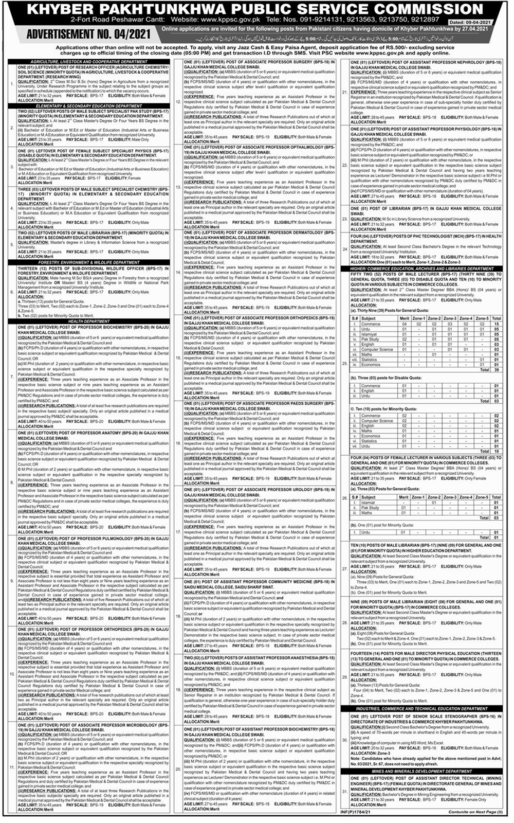 KPPSC Elementary and Secondary Education Department Jobs 2021 Apply Online Roll No Slip